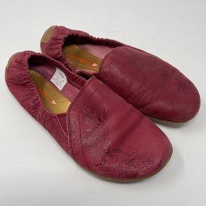 Merrill Ballet Flat Women's Size 7 Port Vibram Sole Elastic Shoe Nubuck Leather